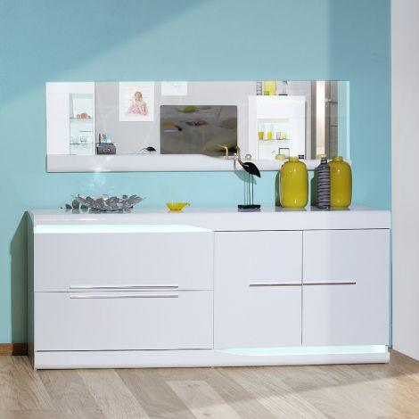 Bahut Ovar 200cm 2 portes & 2 tiroirs - blanc brillant