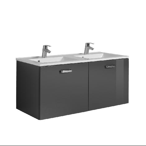 Meuble vasque Bobbi 120cm avec double vasque et 2 tiroirs - graphite/gris brillant