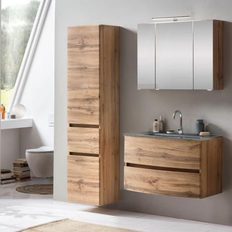 Ensemble salle de bains Kornel 5 à 3 pièces avec vasque grise - chêne