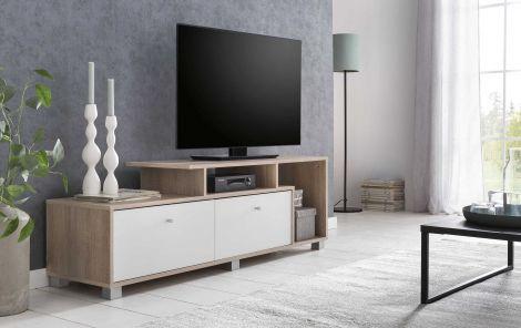 Meuble TV Marly 140cm - blanc/chêne
