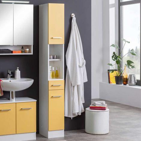 Colonne Ricca 25cm 2 portes & 1 tiroir - blanc/jaune