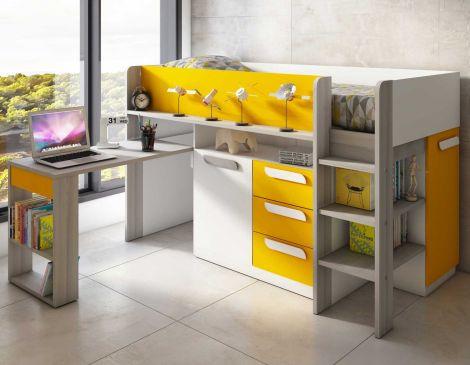 Lit combiné Beau avec bureau - jaune