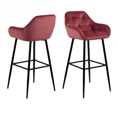 Lot de 2 chaises de bar Bridget - corail/noir