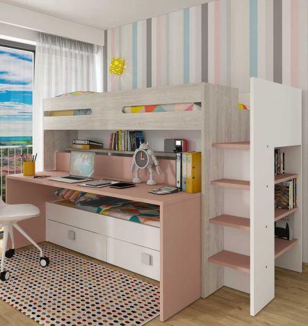 Lit mezzanine Billy avec bureau - vieux rose