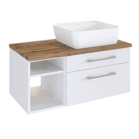 Meuble lavabo Dasa (droite) 90cm à 2 tiroirs - blanc