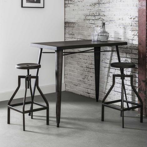 Table de bar Brent 120x60 industriel - gris