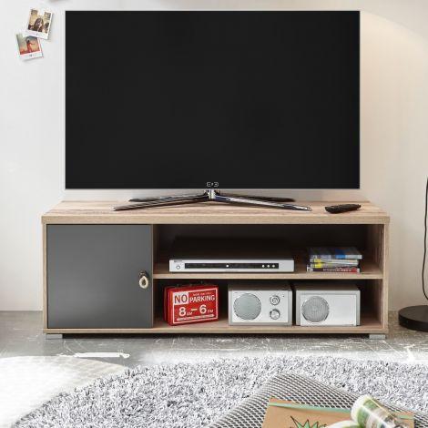 Meuble tv Moleskin 120cm avec 1 porte - anthracite/ancien style