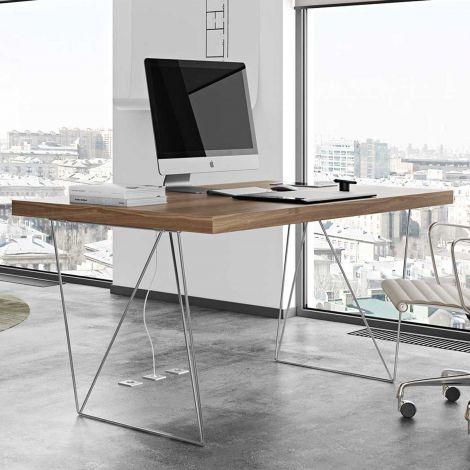 Table Multis 160cm - noyer/chrome