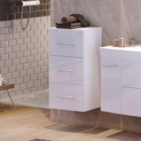 Armoire salle de bains Florent 40cm 3 tiroirs - blanc