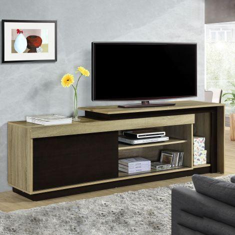 Meuble tv Munis 180cm avec 1 porte - chêne/noir