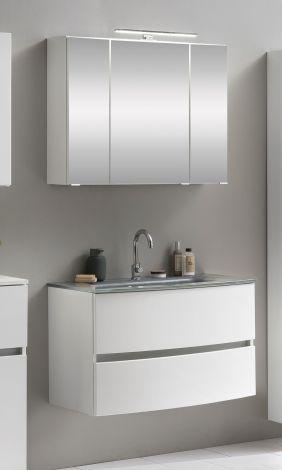 Ensemble salle de bains Kornel 1 à 2 pièces avec vasque grise - blanc