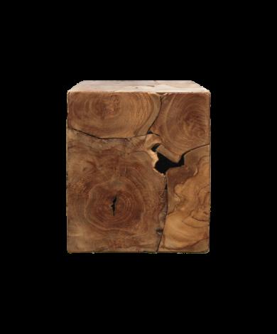 Table d'appoint cube - 30x30 cm - teck - cire naturelle