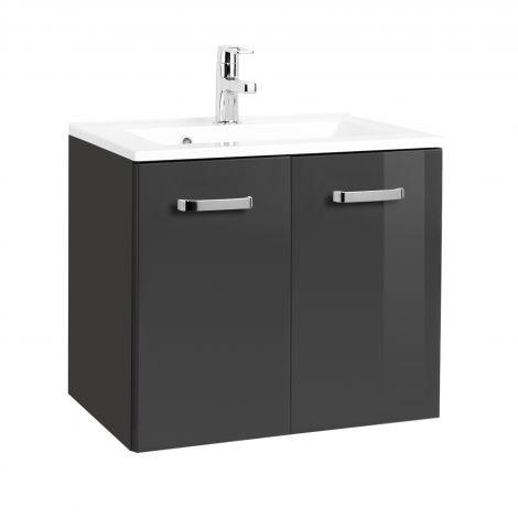 Meuble vasque Bobbi 70cm 2 portes - graphite/gris brillant