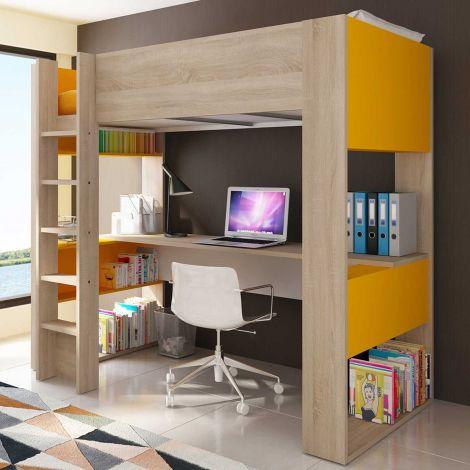 Lit mezzanine Beau avec bureau - orange