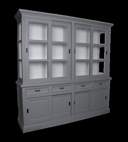 Vaisselier Provence 220cm à 8 portes & 4 tiroirs - gris foncé
