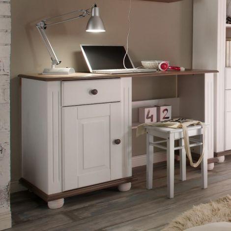 Bureau Laurel 120cm - blanc/brun