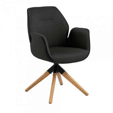 Chaise de salle à manger Aubin - gris foncé/brun