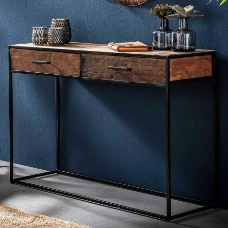Console Florin 2 tiroirs industriel - bois dur