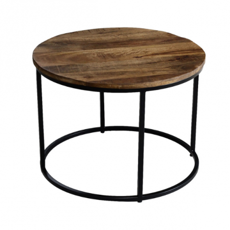 Table d'appoint Lano ø60cm - magnolia/noir