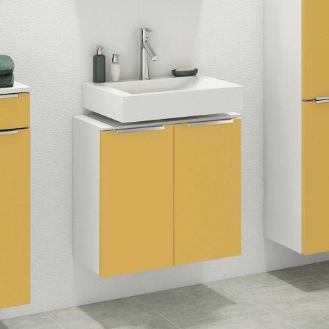 Meuble sous lavabo Hansen 60cm 2 portes - jaune/blanc