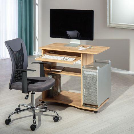 Bureau sur roulettes pour ordinateur Janus 80cm - chêne artisan