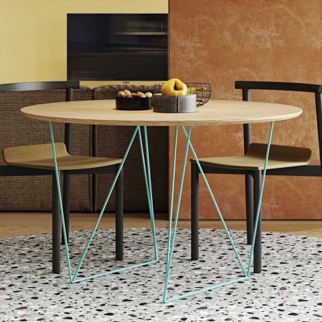 Table à manger Row Ø120 - chêne/vert