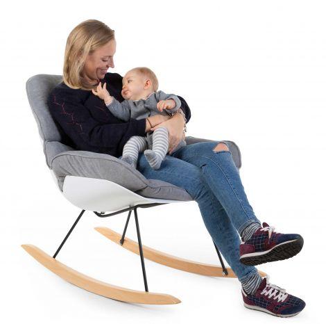 Chaise à bascule confortable - blanc/gris