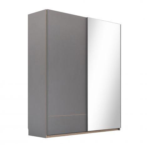 Armoire Birger 202 cm 2 portes coulissantes & miroir - gris