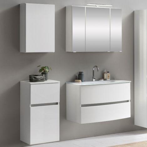 Ensemble salle de bains Kornel 7 à 4 pièces avec vasque blanche - blanc