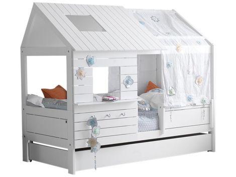 Lit cabane bas Silversparkle - laqué blanc