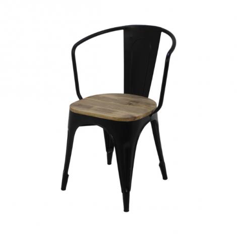 Set de 4 chaises café industrielle Tap - bois de manguier/fer