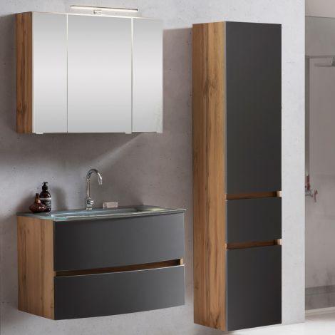 Ensemble salle de bains Kornel 5 à 3 pièces avec vasque grise - chêne/gris mat