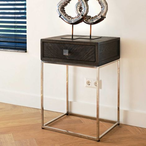 Table de chevet Bony 50cm 1 tiroir - noir/argent