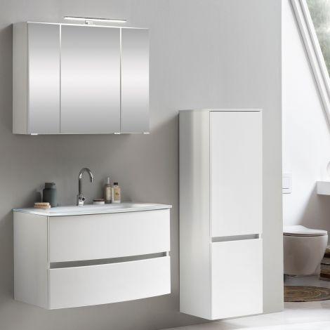 Ensemble salle de bains Kornel 3 à 3 pièces avec vasque blanche - blanc