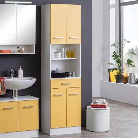 Colonne Ricca 50cm 4 portes & 1 tiroir - blanc/jaune