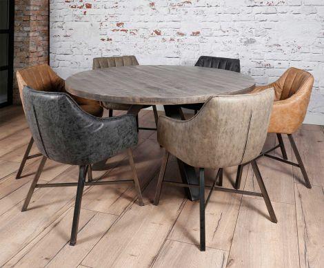 Table à manger Kate ø140cm industriel - foncé