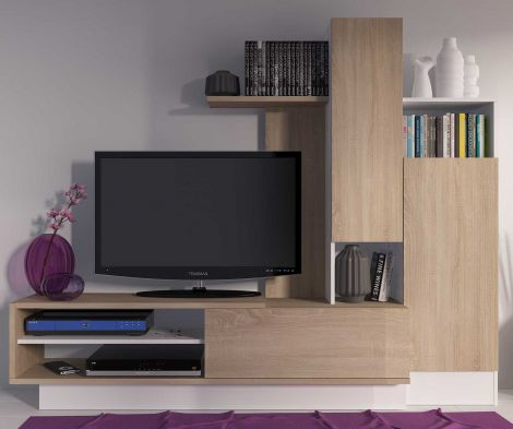 Meuble tv Benno 200cm - bois/blanc