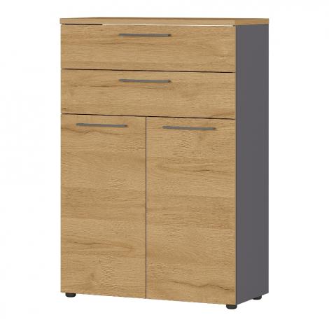 Classeur bas Osmond 80cm à 2 portes & 2 tiroirs - chêne/graphite