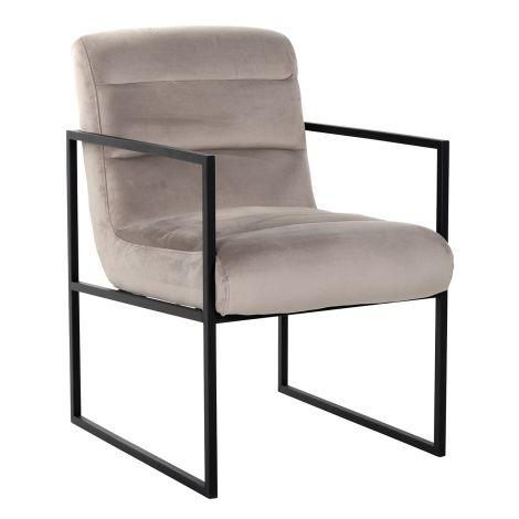 Chaise de salle à manger Claz velours - kaki/noir