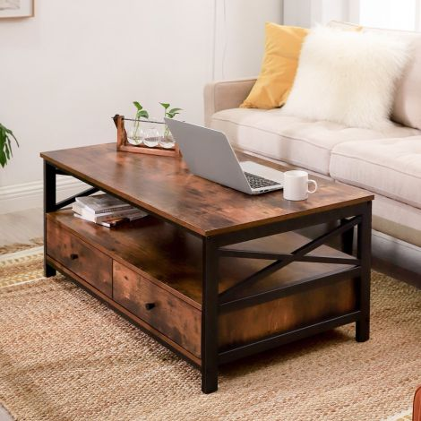 Table basse Gerrit 100x55 2 tiroirs - brun rustique/noir
