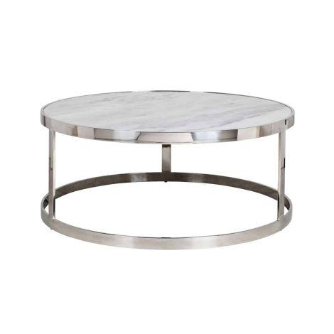 Table basse Levanto ø95cm - argent/blanc