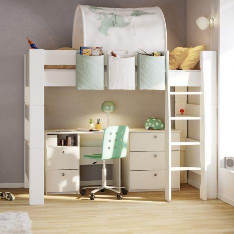 Lit mezzanine Skagen 90x200 - blanc