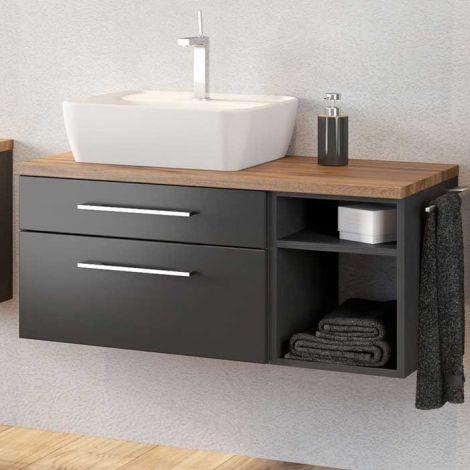 Meuble lavabo Dasa (gauche) 90cm à 2 tiroirs - graphite/gris mat