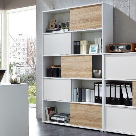 Bibliothèque Tyson - blanc/chêne
