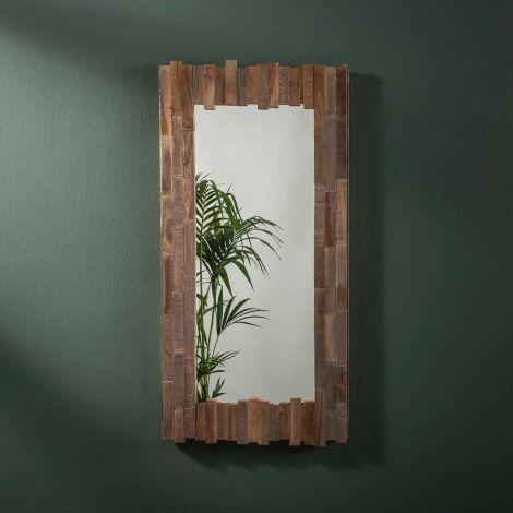 Miroir Teca 50x100 - Teck en lavage gris