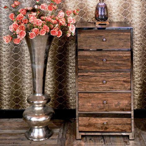 Chiffonnier Kensington 60cm 5 tiroirs - brun/argent