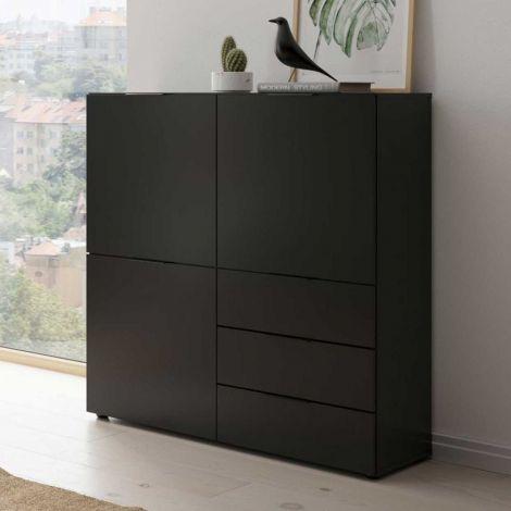Commode Damien 100cm 3 portes & 3 tiroirs - noir