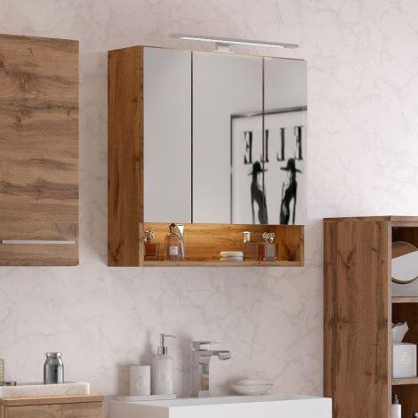 Armoire de toilette Sefa 60cm 3 portes - chêne wotan