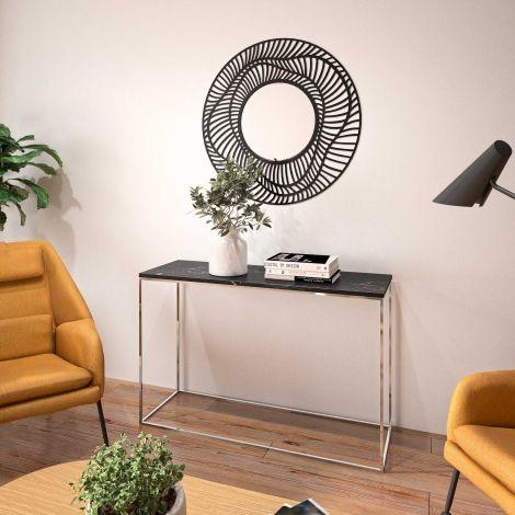 Table d'appoint Chams 120cm - marbre noir/chrome