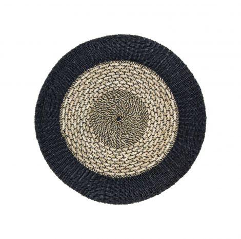 Tapis Malibu ø120cm raphia/zostère - naturel/noir